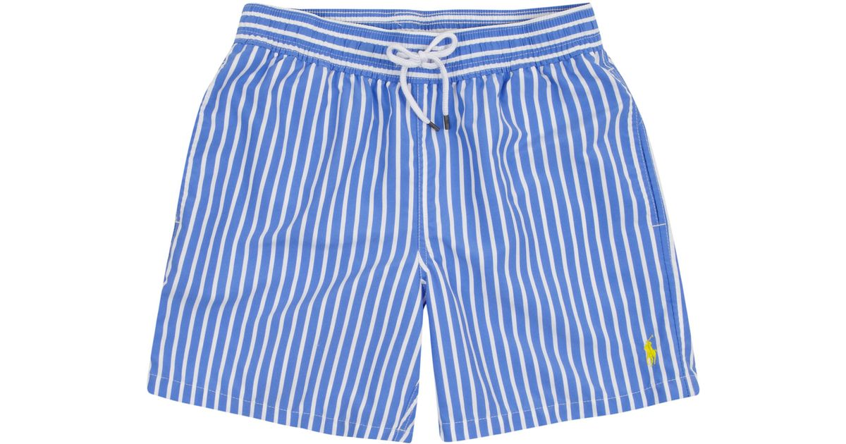 77bdf74c7 ... czech polo ralph lauren blue stripe swim shorts in blue for men lyst  e7fe3 faa33