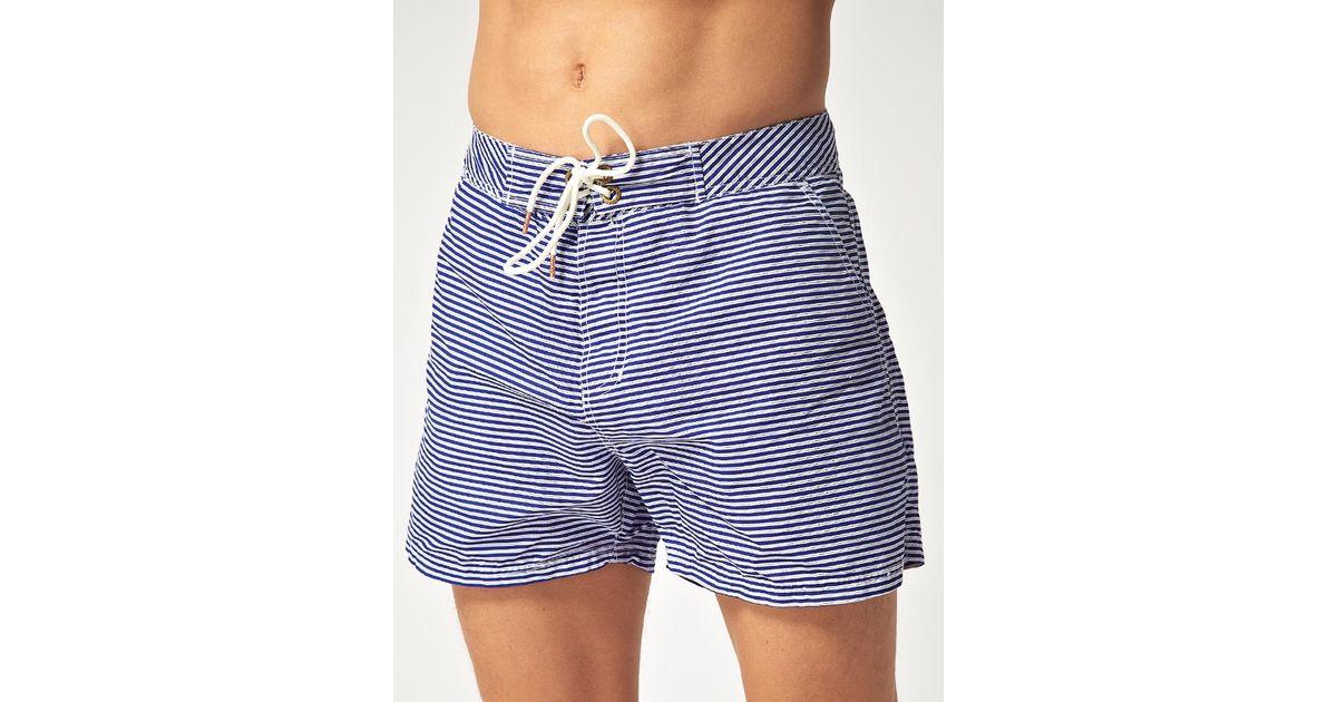 9b98417574 Scotch & Soda Scotch Soda Striped Swim Shorts in White for Men - Lyst