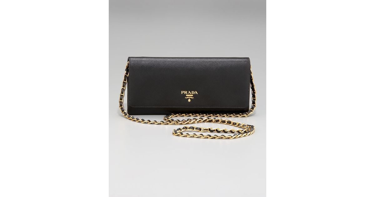 d86d0024c1bb ... best price lyst prada saffiano chain crossbody wallet in black 991da  c0a7b