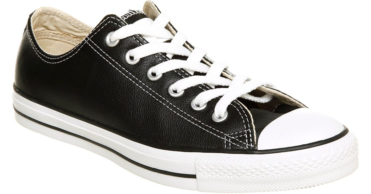 ef3ed4e3798d Lyst - Converse All Star Leather Ox Low Black Leather in Black for Men