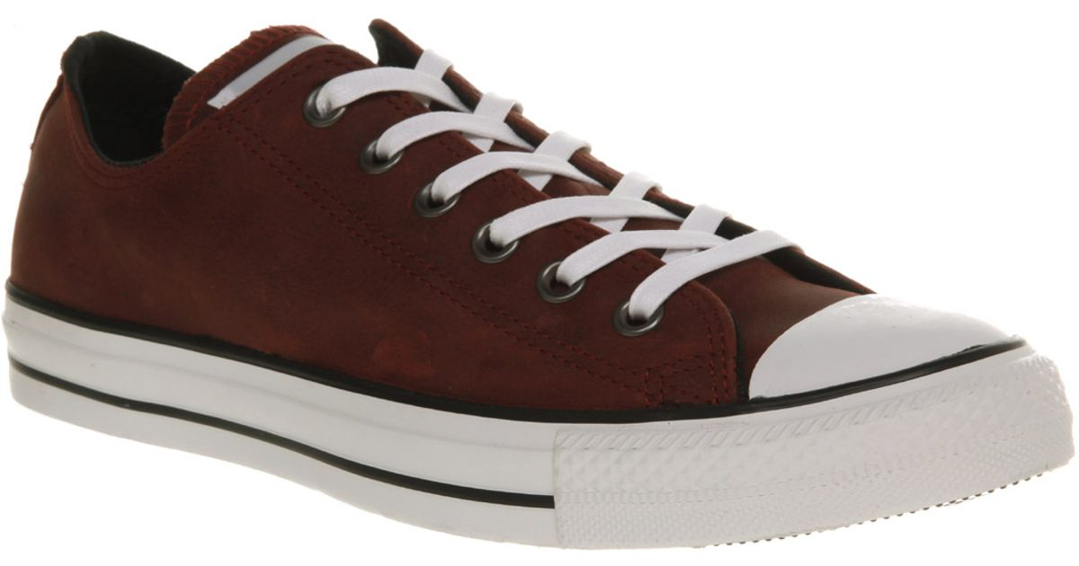 Lyst - Converse All Star Leather Ox Low Maroon in Red for Men bee7ae92a