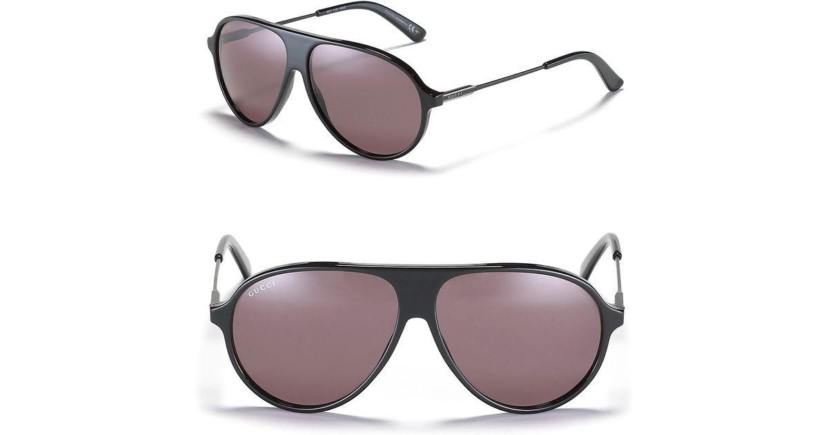 f6f6d82dda7 Lyst - Gucci Acetate Aviator Sunglasses with Metal Temples in Black