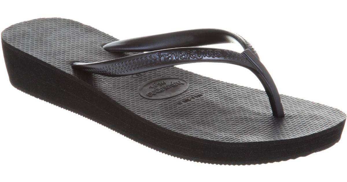 bad1c4c2c Lyst - Havaianas Highlight Wedge Flip Flop Black Rubber in Black
