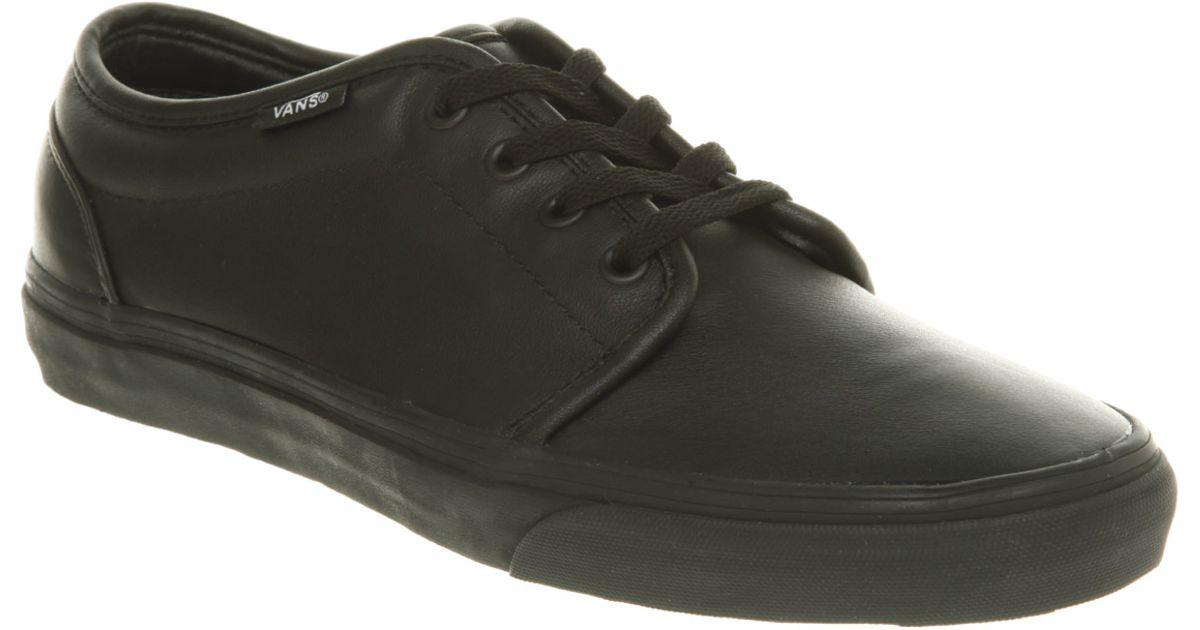 Lyst - Vans 106 Vulcanized Black Leather in Black for Men 857145827