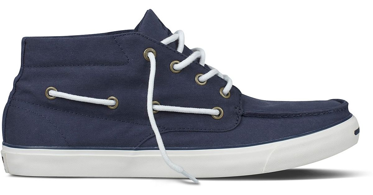701332a60585 Lyst - Converse Jack Purcell Mid Rise Boat Shoes in Blue for Men