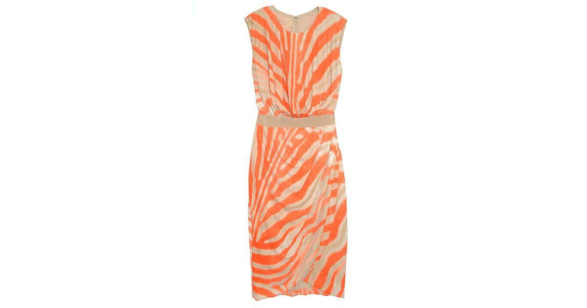 11c8585d9d Giambattista Valli Zebra Print Wrap Dress - Lyst