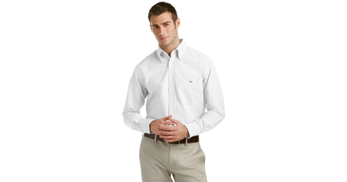 b254f4bfe2b8bd Lyst - Lacoste Oxford Button Down Dress Shirt in White for Men