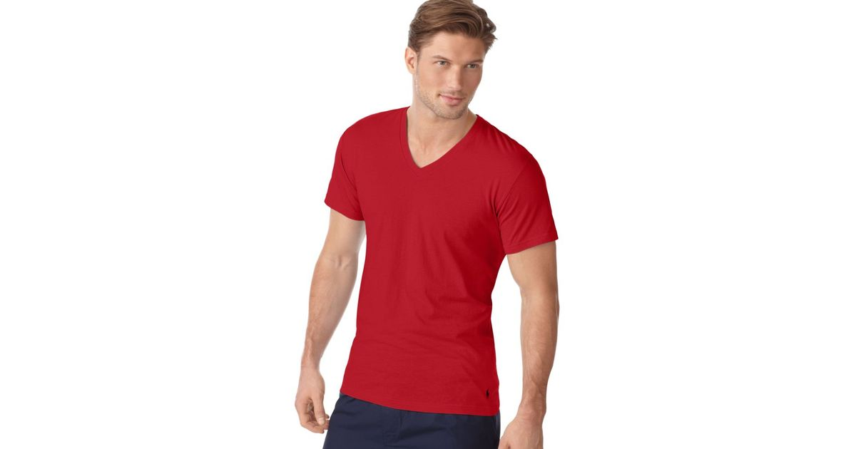 Lyst - Ralph Lauren V Neck T Shirt in Red for Men 0f228e075430