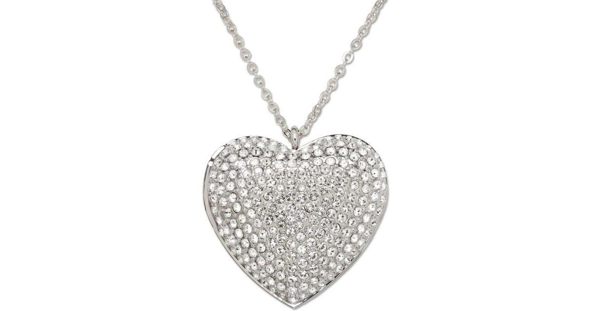 Lyst swarovski crystal pave heart locket pendant in metallic aloadofball Image collections