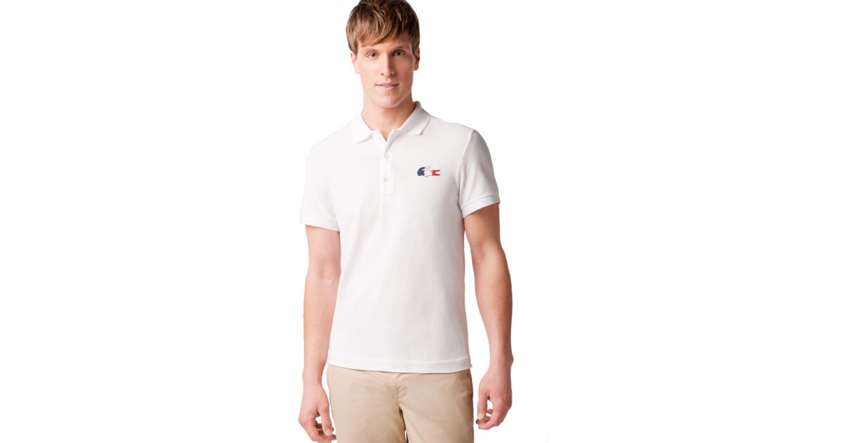 69d33664c490bd Lyst - Lacoste France Flag and Croc Pique Polo Shirt in Gray for Men
