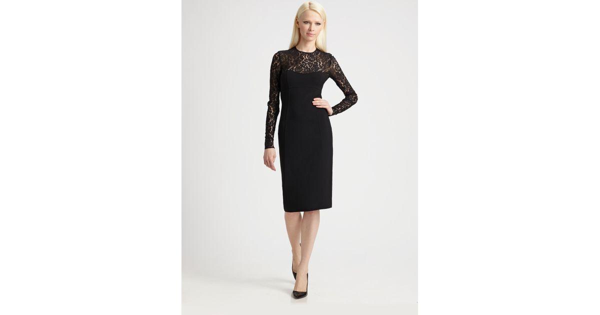 Lyst Michael Kors Lace Illusion Dress In Black
