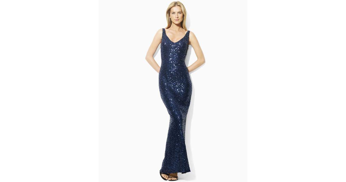 Lyst - Lauren By Ralph Lauren Sleeveless Sequin Evening Gown in Blue