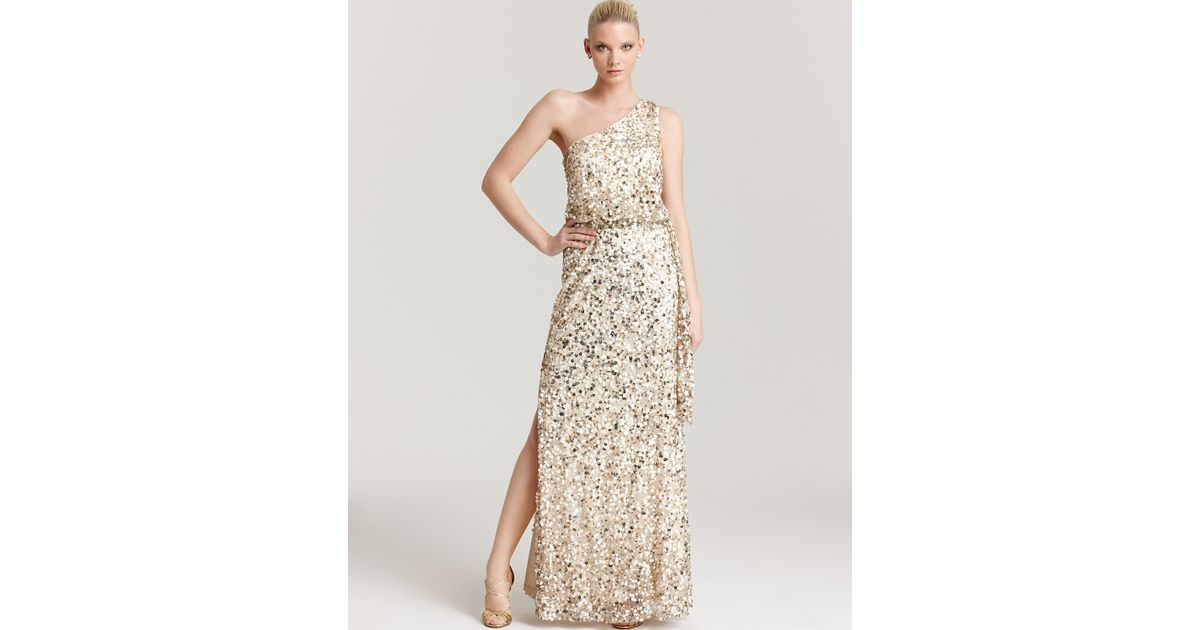 Lyst - Aidan Mattox Sequin Gown One Shoulder in Natural
