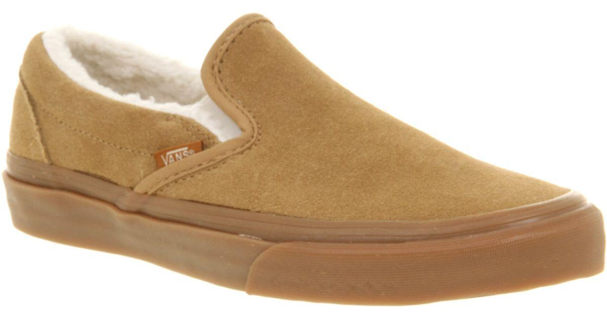 b61a7e6cfb Lyst - Vans Classic Slip On Sand Fleece St in Brown for Men