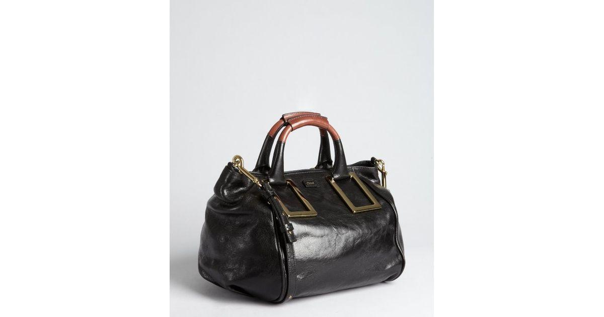 Chlo¨¦ Black Leather Ethel Crossbody Top Handle Tote in Black | Lyst