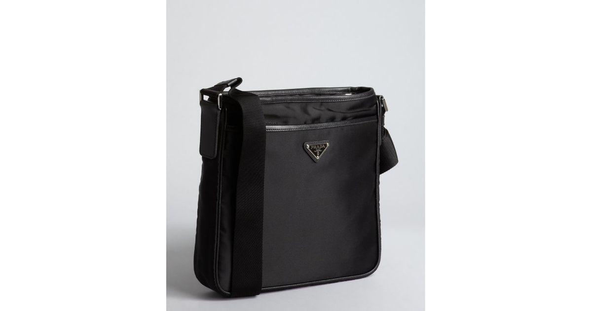 0008dae0032d ... cheap lyst prada black nylon logo mini messenger bag in black for men  49dc2 f2d20