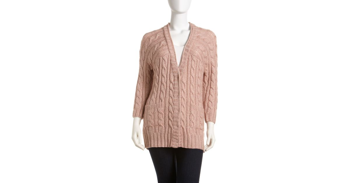 St. john Cable Knit Boyfriend Cardigan in Natural | Lyst