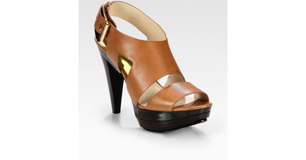 794e55fc9e055 Lyst - MICHAEL Michael Kors Carla Leather Platform Sandals in Brown