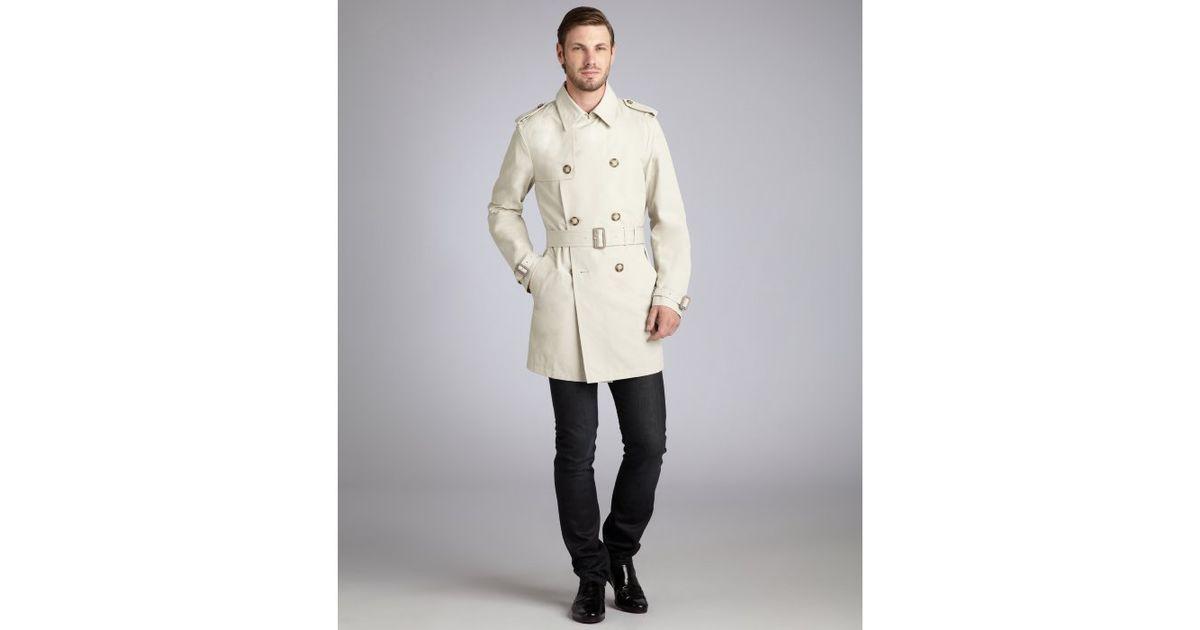 Prada Beige Cotton Blend Belted Trench Coat in Beige for Men | Lyst