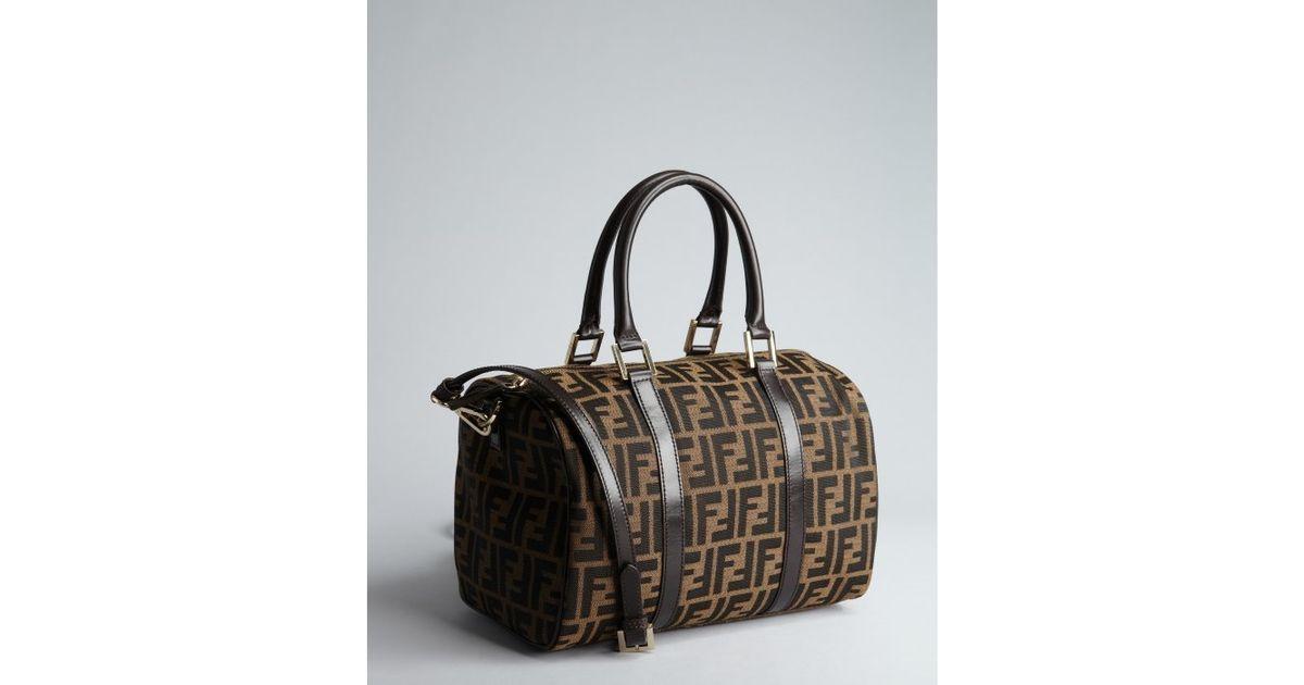 ac73fae5ed ... discount code for lyst fendi tobacco zucca canvas bauletto c  convertible crossbody bag in brown 37712