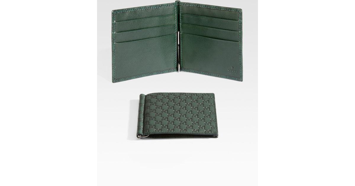 f614fbea0f64 Gucci Microguccisima Money Clip Wallet in Green for Men - Lyst