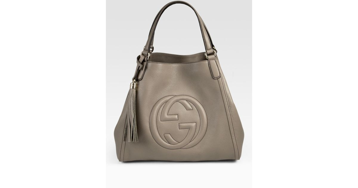 9834f39de21f Lyst - Gucci Soho Medium Shoulder Bag in Natural