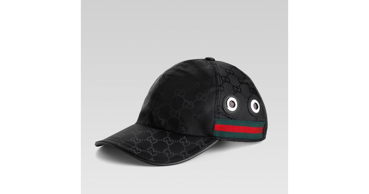 ae8e29e960c Mens Black Gg Supreme Velvet Baseball Hat  quality design 7a4ef 55eae Lyst  - Gucci Baseball Hat with Grommets and Adjustable Hookandloop Closure in ...
