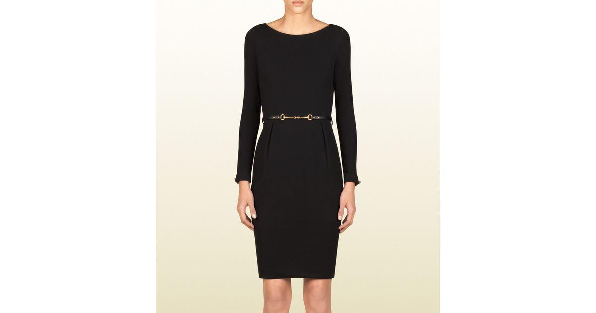 da47575c8 Gucci Belted Dress in Black - Lyst