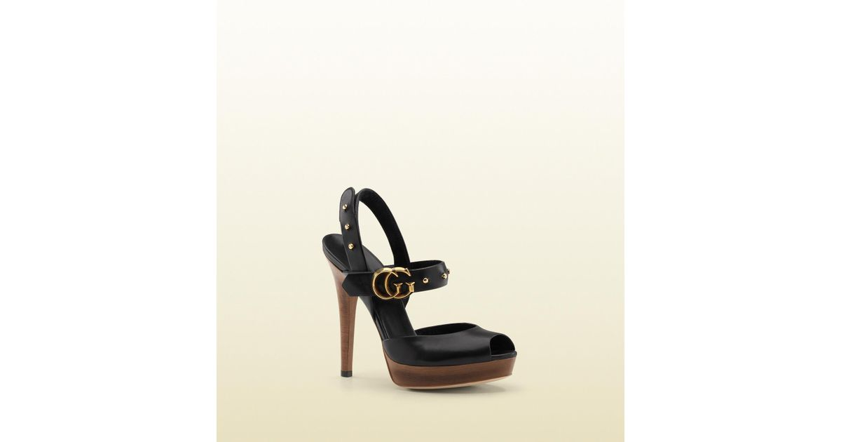 1a68cf52e1a8 Lyst - Gucci Gg Running Double G Slingback High Heel Platform Sandal in  Black
