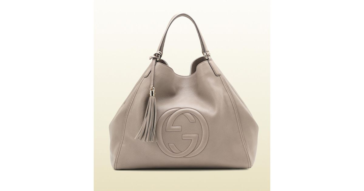 3f5aec347bd Lyst - Gucci Soho Leather Shoulder Bag in Gray