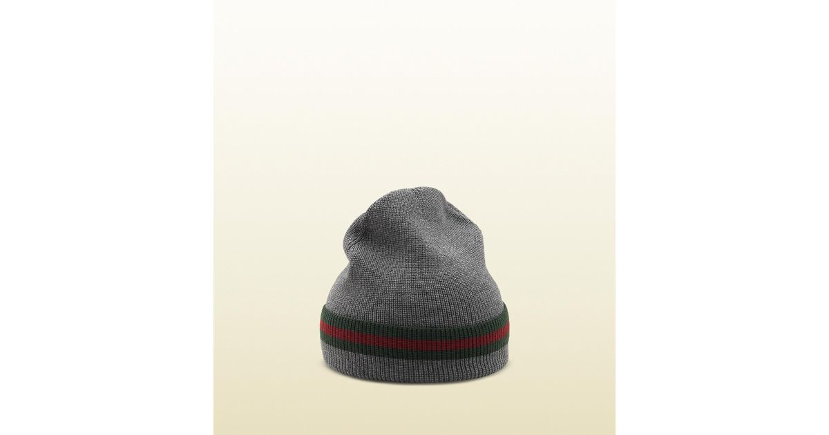 Lyst - Gucci Knit Wool Web Hat in Gray for Men 52c43546a70d