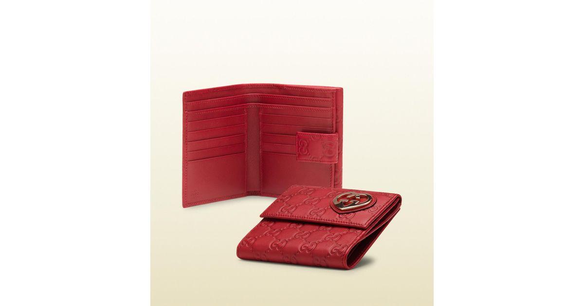27257de8e804 Gucci Heart-Shaped Interlocking G Flap French Wallet in Red - Lyst