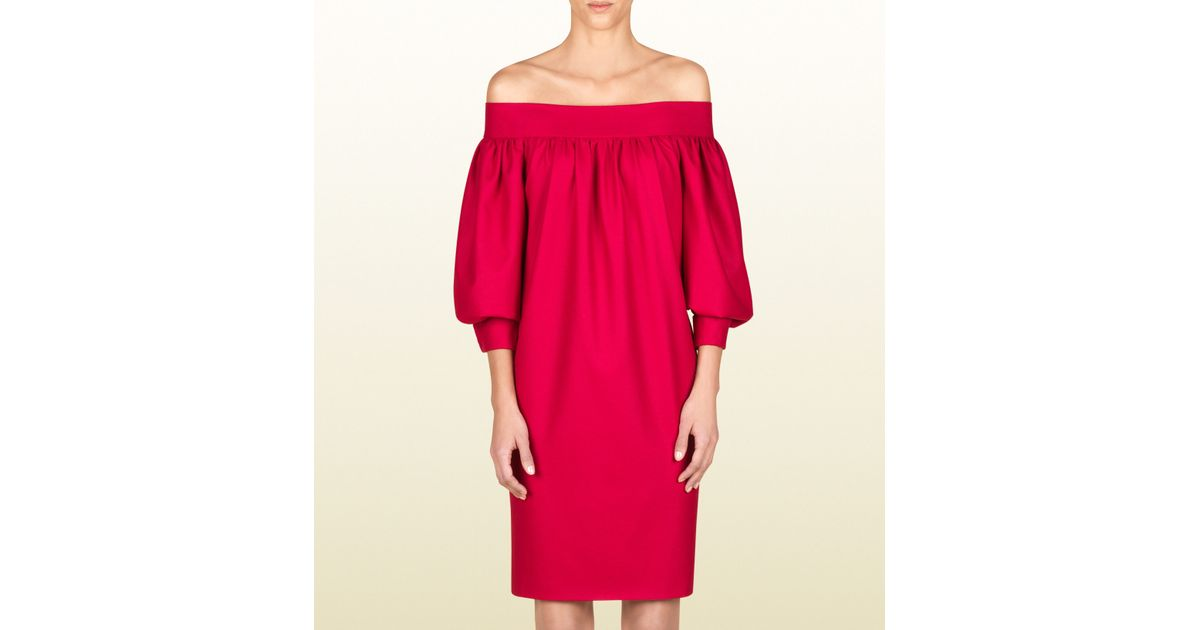 510c41f8528d Gucci Off Shoulder Dress in Red - Lyst