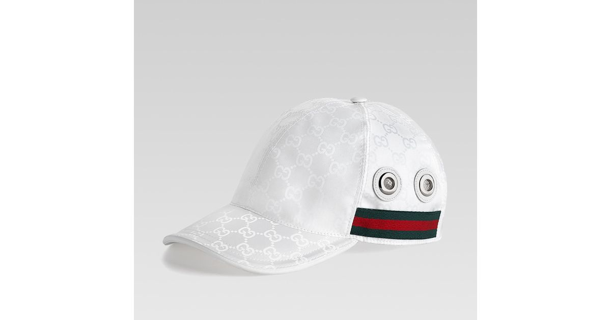 Lyst - Gucci Baseball Hat with Grommets and Adjustable Hookandloop Closure  in White for Men 3036f6f463a