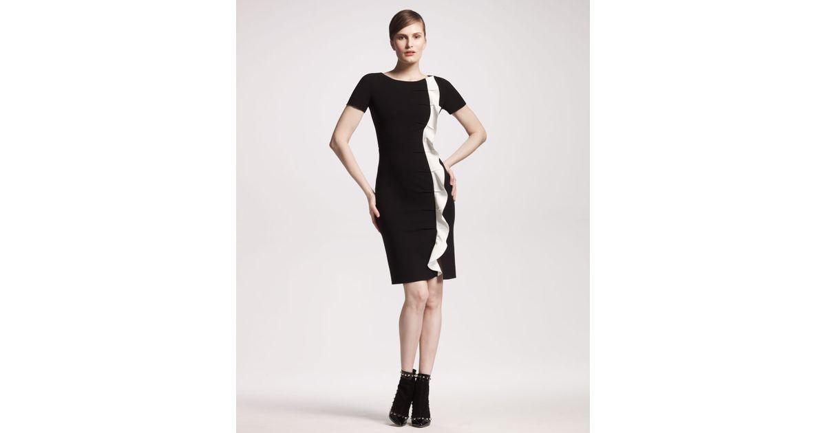 Lyst Valentino Side Ruffle Jersey Dress In Black