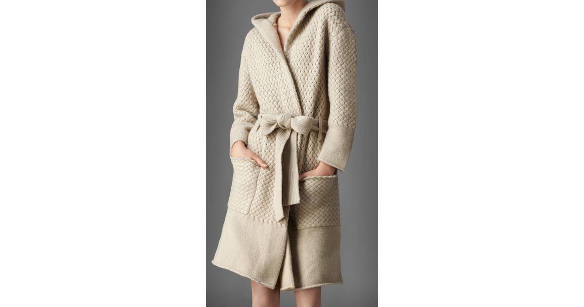 Lyst - Burberry Waffle Knit Cashmere Dressing Gown in Natural