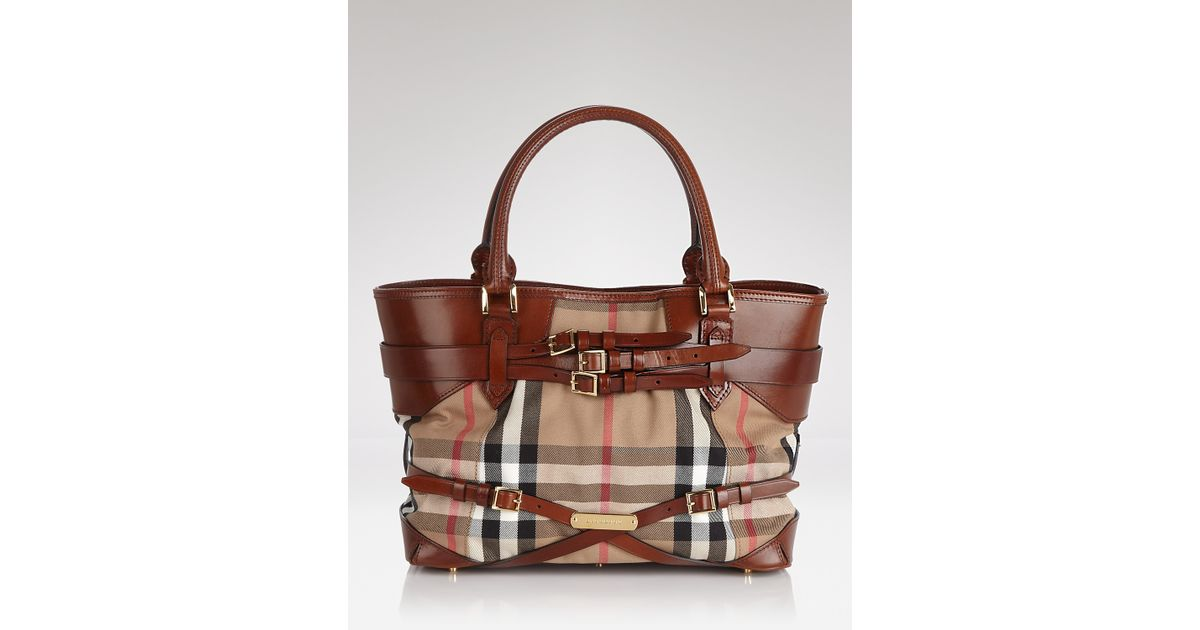 Lyst - Burberry Tote Bridle House Check Medium Lynher in Brown 925399874a
