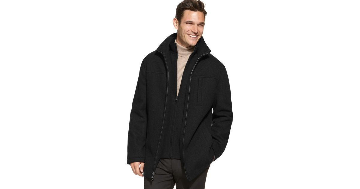 Calvin klein Mens Wool Coats in Black for Men | Lyst