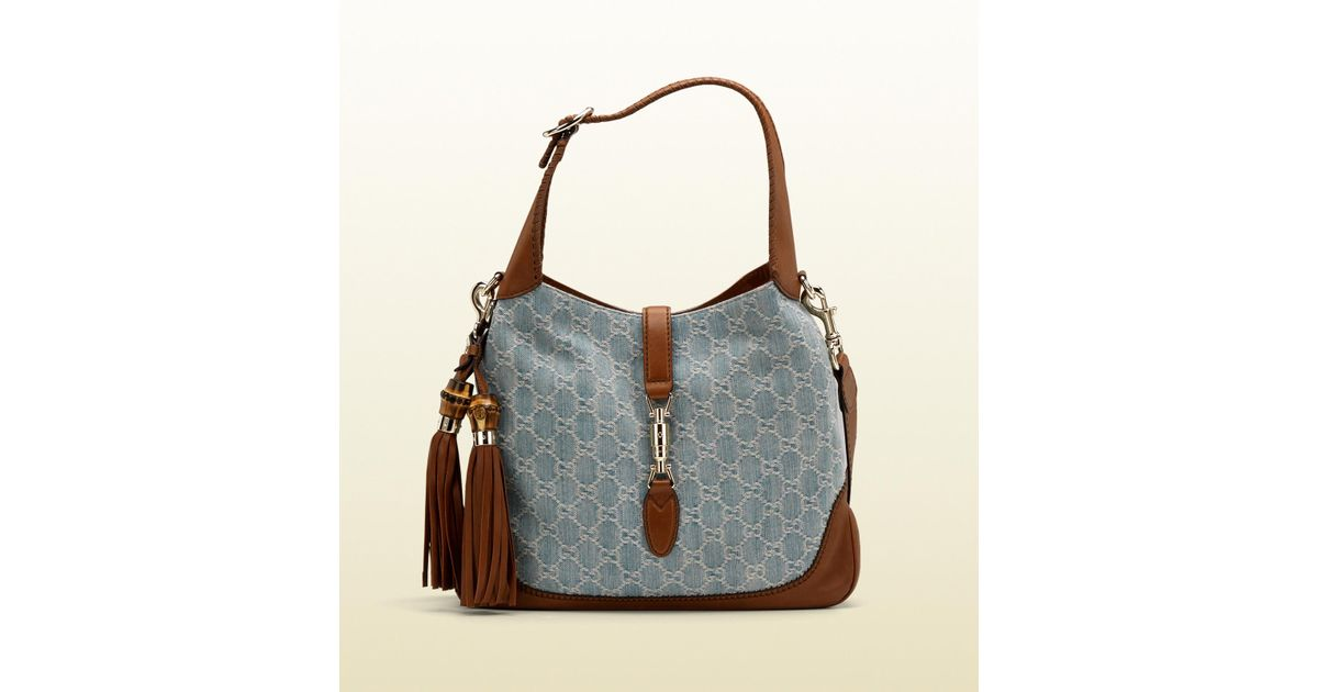 ce9e014a2a1 Lyst - Gucci New Jackie Denim Gg Canvas Shoulder Bag in Blue