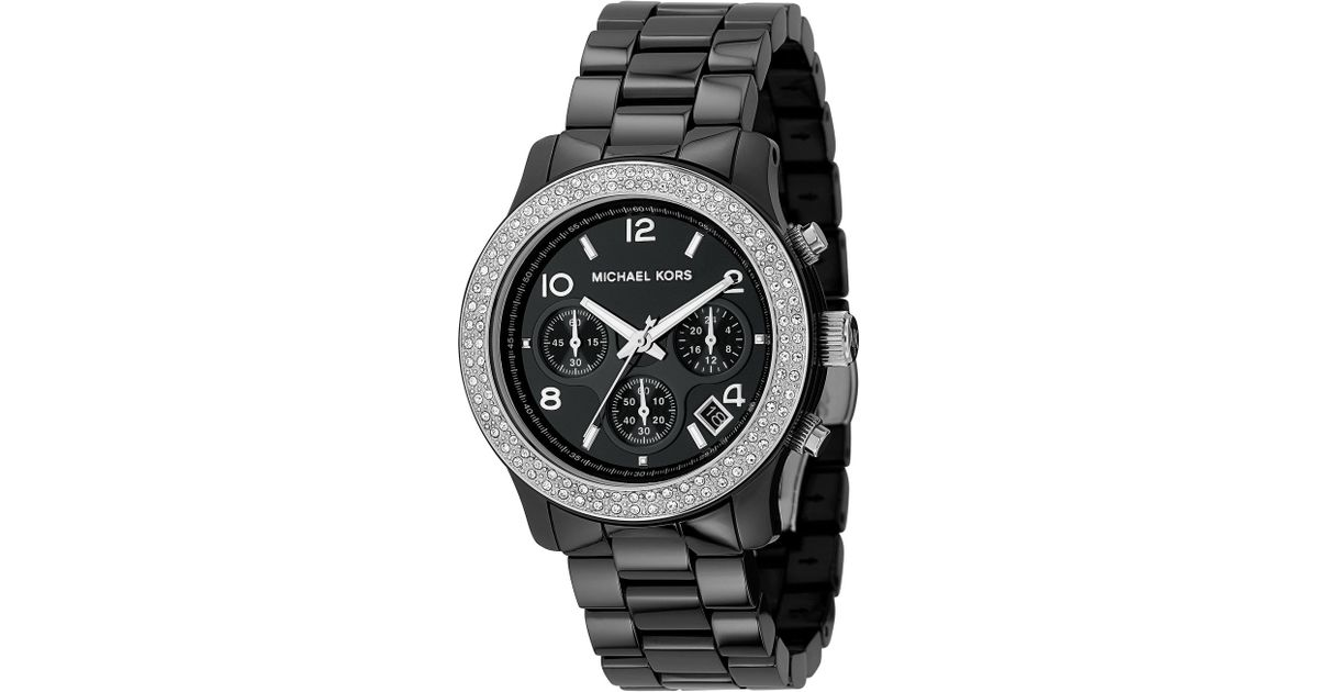 06ef260c6 Lyst - Michael Kors Mid-Sized Ceramic Watch with Glitz in Black