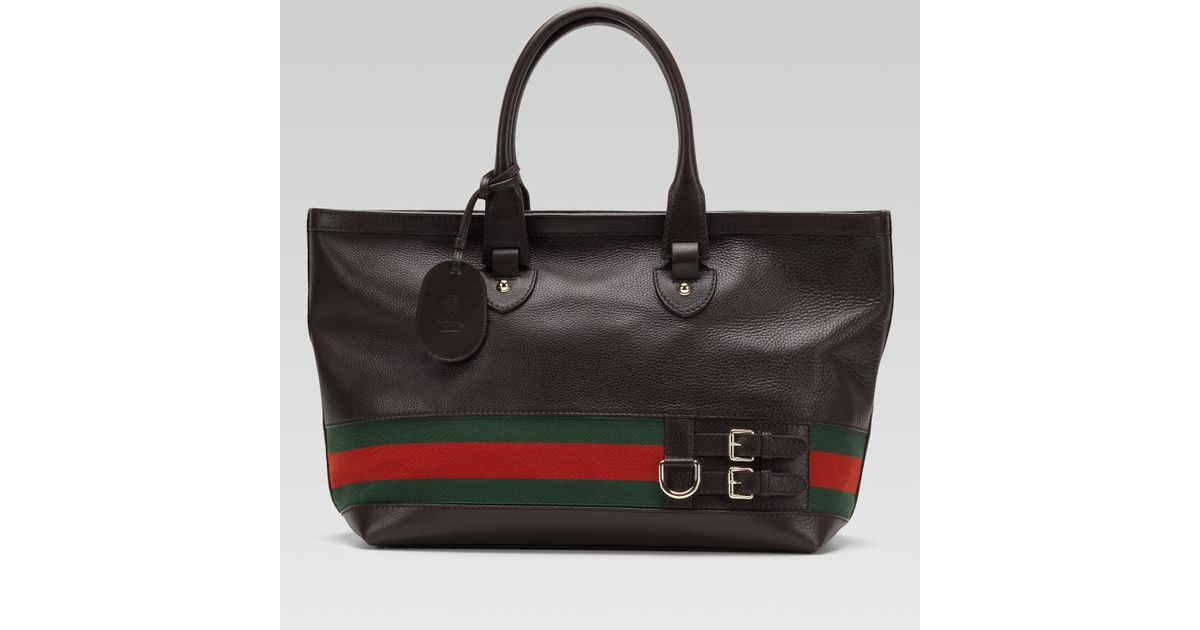 5e6b7ff88fd601 Gucci Gucci Heritage Large Tote With Web Detail in Black - Lyst