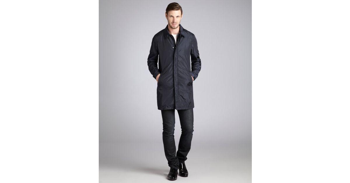 Prada Sport Navy Nylon Threequarter Length Raincoat in Blue for ...