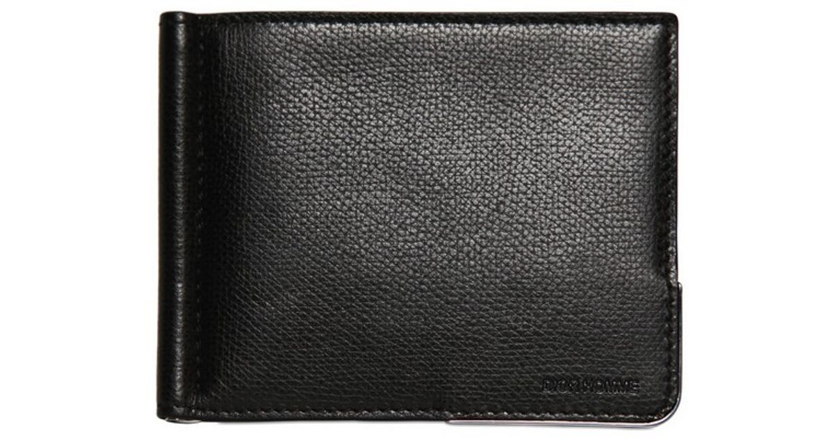 bf13fe9f645a Lyst Dior Homme Grained Leather Metal Corner Wallet In Black For Men