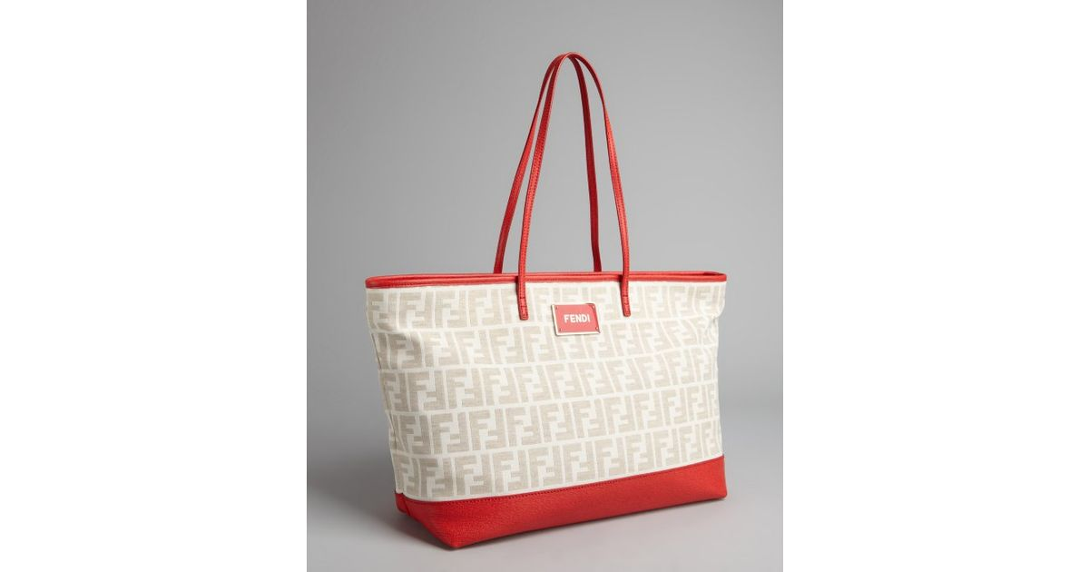 ... hot lyst fendi red and cream zucca canvas roll shopper tote in white  adc31 240a2 ... 88466576bd34c