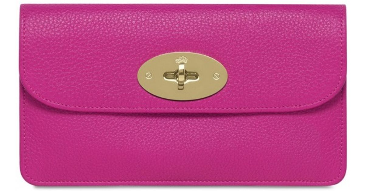 e5fdd7f83c ... release date lyst mulberry glossy leather long locked wallet in pink  4a750 76dac