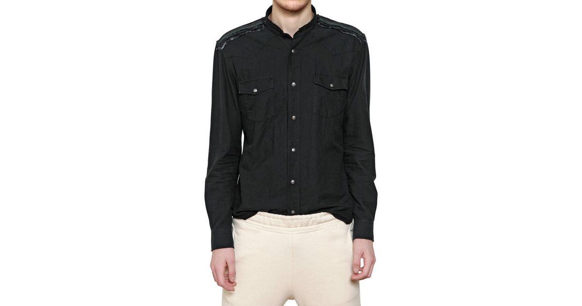 8e80c0d8 Balmain Raw Cut Cotton Canvas Military Shirt in Black for Men - Lyst