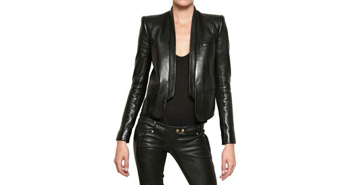 b41fa585 Balmain Soft Nappa Tuxedo Leather Jacket in Black - Lyst