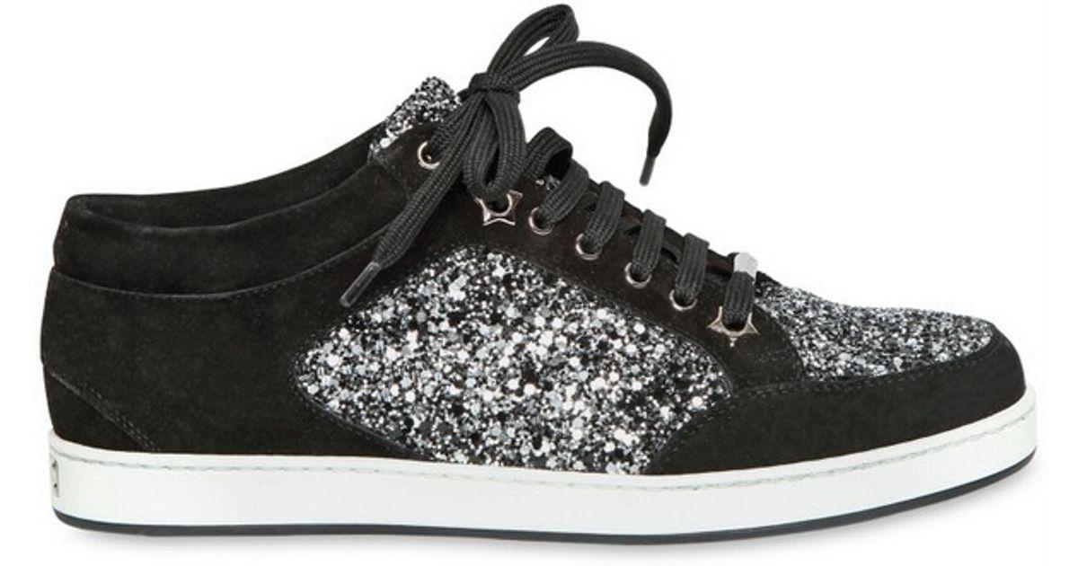 bac32c63dc71 Jimmy Choo 20mm Miami Coarse Glitter Suede Sneakers in Black - Lyst