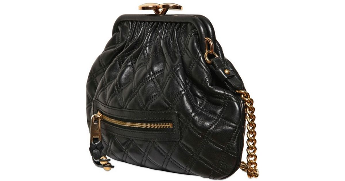 Lyst Marc Jacobs Little Stam Quilted Leather Shoulder Bag In Black a07fc2a628e41