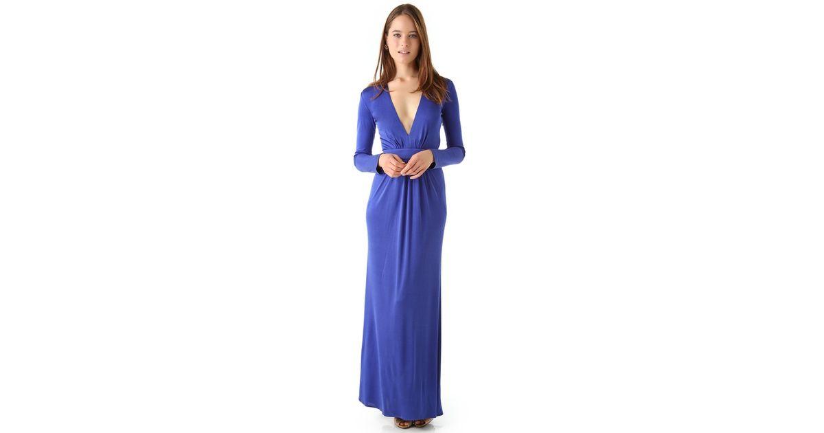 Issa Deep V Maxi Dress in Blue   Lyst